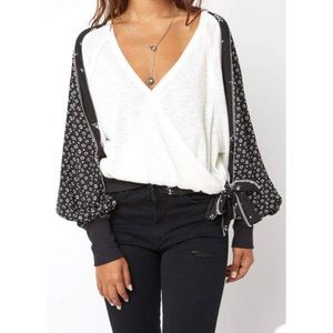 FREE PEOPLE auxton thermal floral long sleeve top